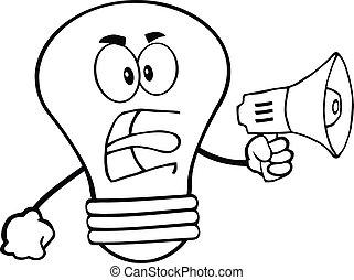 lumière, esquissé, caractère, fâché, ampoule