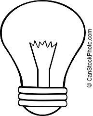 lumière, esquissé, dessin animé, ampoule