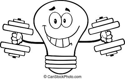lumière, esquissé, dumbbells, ampoule