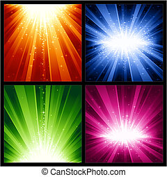 lumière fête, années, étoiles, nouveau, noël, explosions