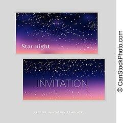 lumière fête, espace, ciel, illustration, arrière-plan., vecteur, étoiles, nuit
