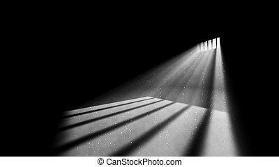 lumière, fenêtre, prison, askew