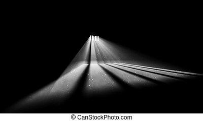 lumière, fenêtre, prison, diagonal