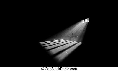lumière, fenêtre, sombre, prison