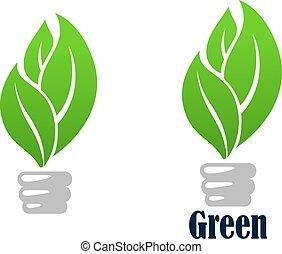 lumière, feuilles, vert, ampoule