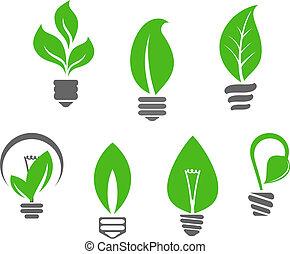 lumière, feuilles, vert, ampoules