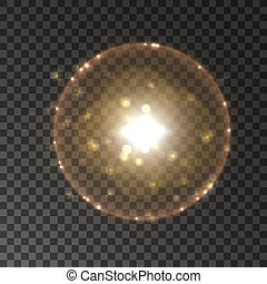 lumière, flash, effet, lentille, fusée éclairante solaire, halo
