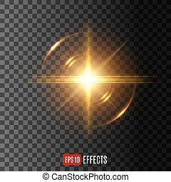 lumière, flash, effet, lentille, vecteur, flamme, icône