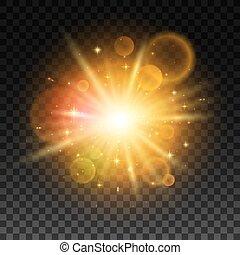 lumière, flash, lentille, clair, flamme, lumineux