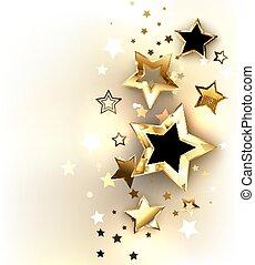 lumière, fond, or, étoiles
