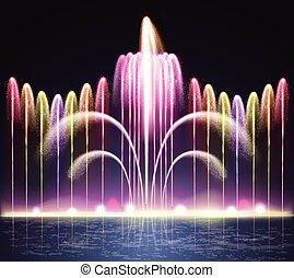 lumière, fontaine, réaliste, fond, nuit