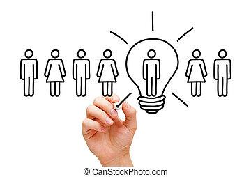 lumière, grand, concept, idée, ampoule
