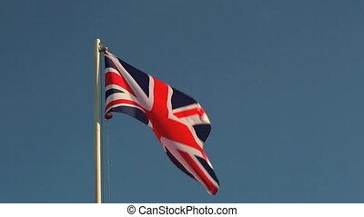 lumière, grand, soir, drapeau, grande-bretagne