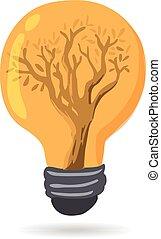 lumière, graphique, arbre, ampoule