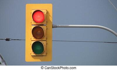 lumière, green., arrêt, virages