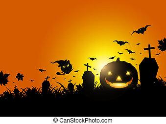 lumière, halloween, illustration, lune, vecteur, herbe, citrouille