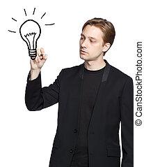 lumière, homme, dessin, ampoule