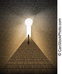lumière, homme, trou de la serrure, avant
