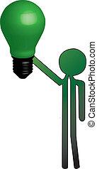lumière, homme, vert, ampoule