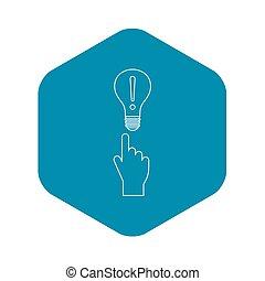 lumière, icône, indicateur, doigt, ampoule