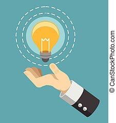 lumière, icône, vecteur, ampoule, main