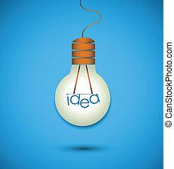 lumière, idée, ampoule