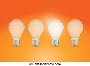 lumière, idée, rang, concept, ampoules
