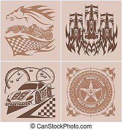 lumière, -, illustration, arrière-plan., emblèmes, auto, logo, sport, voiture course