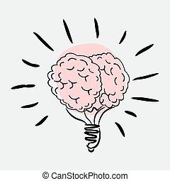 lumière, illustration, cerveau, vecteur, ampoule, icon.