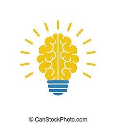 lumière, illustration, cerveau, vecteur, icône, ampoule