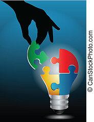 lumière, image, main, vecteur, humain, ampoule, puzzle,...