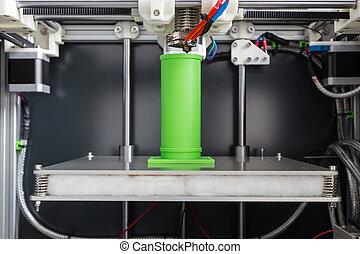 lumière, impression, vert, filament, 3d