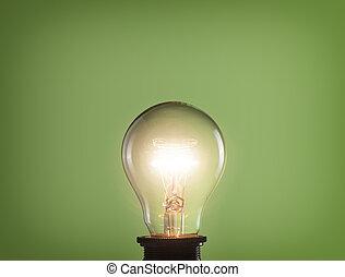lumière, incandescent, arrière-plan vert, ampoule