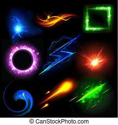 lumière, incandescent, effet