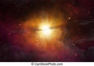 lumière, incandescent, extérieur, étoile, espace