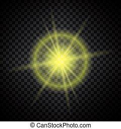 lumière, incandescent, scintillement, jaune