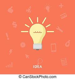 lumière, incandescent, symbole, ampoule