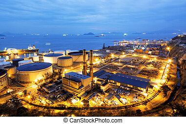 lumière, industrie, pétrochimique, lueur