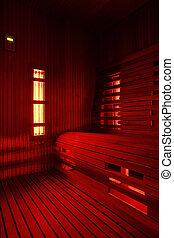 lumière, infrarouge, cabine, (infra)red, sauna