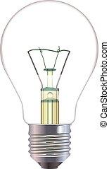 lumière, isolé, arrière-plan., vecteur, ampoule, blanc