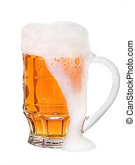 lumière, isolé, verre, bière, fond, blanc