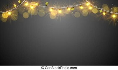 lumière, jaune, noël, boucle, ampoules
