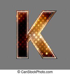 lumière, k, texture, incandescent, lettre, noël