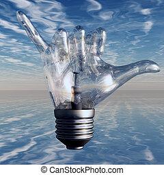 lumière, lâche, pendre, geste, ampoule