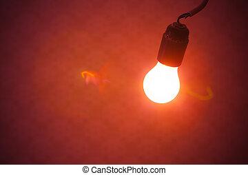 lumière, lampe, arrière-plan rouge, ampoule