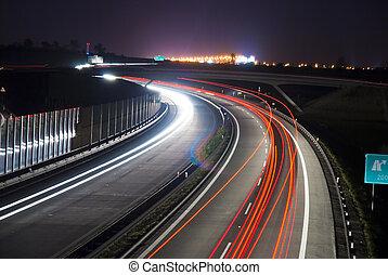 lumière, -, long, nuit, lignes, autoroute, exposition