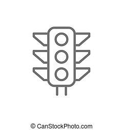 lumière, lumière signal, vecteur, trafic, ligne, icon.