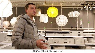 lumière, ménage, unique, tenue, ampoule, magasin, homme