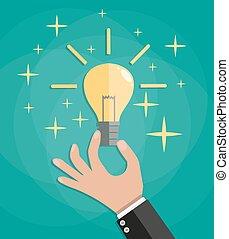 lumière, main, pouce, ampoule, haut