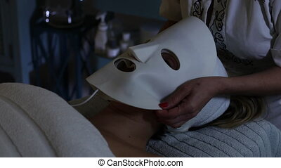 lumière, mené, masque, rajeunissement, peau